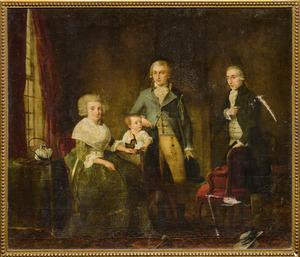 Portret van Anthonius Josephus van Niel (1757-....) met echtgenote, zoon en vader