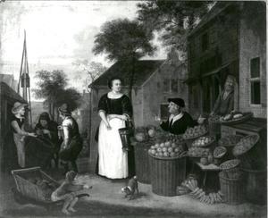 Groentenverkoopster met klant op een markt in een dorp