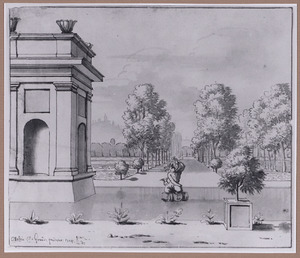 Park met vijver en fontein