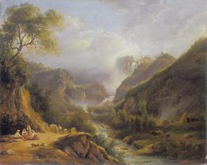 Gezicht op de watervallen van Marmore