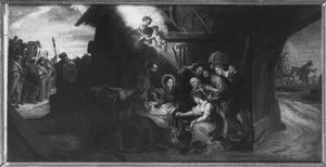 De optocht der drie koningen, de aanbidding der herders en de vlucht naar Egypte