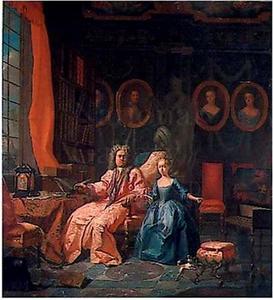 Portret van een man met waarschijnlijk zijn dochter