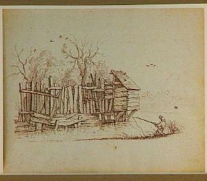 Schutting en schijthuis aan een rivier, op de voorgrond een visser