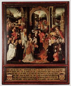 Memorietafel met de Aanbidding van de Wijzen en portretten van Jacob Aertsz. van Schayck (....-1530) en zijn familie