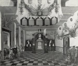 Ontvangst van Prins Willem III in de Statenkamer van Utrecht ter gelegenheid van zijn aanstelling tot erfstadhouder, 1674