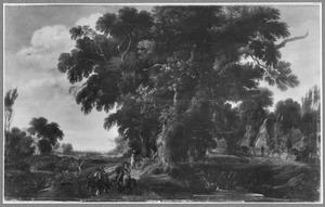 Landschap met eikenbomen en een dorp op de achtergrond