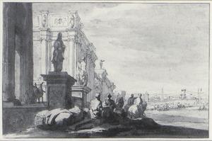Klassiek paleis met figuren op de voorgrond