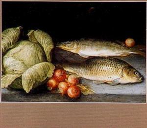Twee vissen, uien en kool