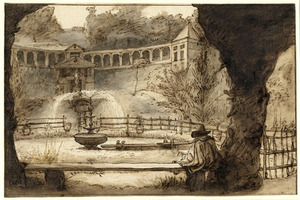 Gezicht op de fontein in Kleef met op de voorgrond een schetsende kunstenaar