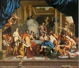 Jupiter geeft de appel aan Mercurius tijdens het huwelijksbanket van Peleus en Thetis
