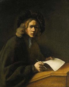 Portret van een onbekende man aan zijn lessenaar