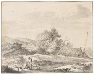 Duinlandschap met boerderij en figuren