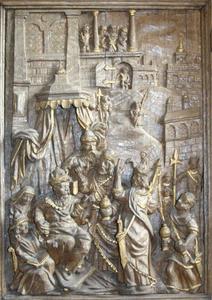 De drie wijzen op bezoek bij koning Herodes, detail van de preekstoel uit de kerk van Asperup (Denemarken)