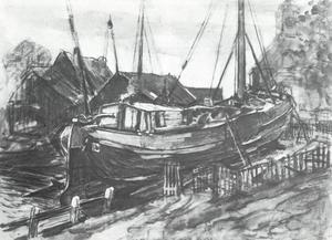 Drydock at Durgerdam, mixed media