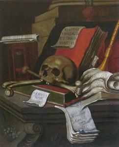 Vanitasstilleven met schedel en knekels op een stenen plint
