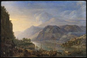 Landschap met gezicht op de Rijn bij Breisig, op de voorgrond een liereman voor een herberg