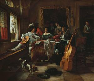 Interieur met een musicerend gezelschap