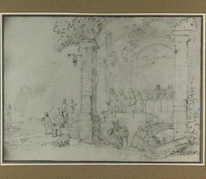 Groep figuren in een ruïne (ongeïdentificeerde voorstelling)