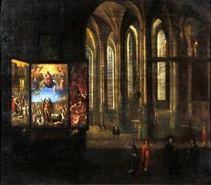 Interieur van de Mariakerk in Danzig met het triptiek van Hans Memling