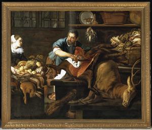 Keukenstilleven met een man die een zwijn slacht en een keukenmeid met een mand vruchten