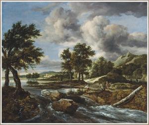 Heuvellandschap met een visser bij een waterval