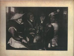 Herbergscène met vier figuren en een drinkend kind
