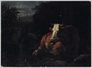 Herkauwende koe en geiten, op de achtergrond een boer bij een hut