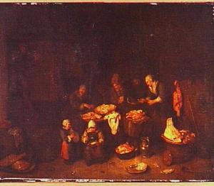Interieur met boerenfamilie bezig met het bereiden van het vlees na de slacht
