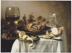 Stilleven met roemer, zoutvat, tinnen schotels, krab, citroen en brood op een tafel