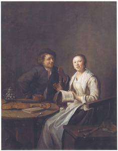 Een jonge man en een jonge vrouw in samenzang