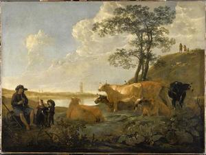 Landschap bij Rhenen: koeien in de wei met een herder die fluit speelt