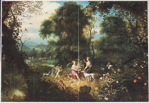 Boslandschap met Ceres en Diana (Het element Aarde)