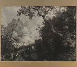 Boslandschap met rustende boeren bij een brug