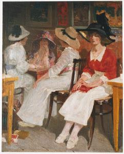 Jonge vrouwen in een theehuis