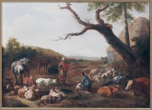 Zuidelijk landschap met oosterling, herder en vee