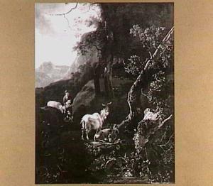 Herderin met vee in een bergachtig landschap