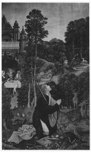 Rochus, wonend in het bos, wordt door een hond met brood gevoed