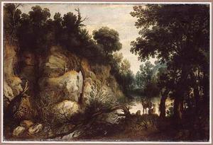 Boslandlandschap met herten bij een rivier