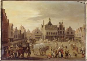 De Hof in Amersfoort met het oude stadhuis; op de voorgrond foeragerende soldaten