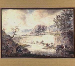 Heuvelachtig rivierlandschap met vee, tekenaar en andere figuren