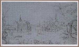 Landschap met kasteel en slotgracht bij een dorp