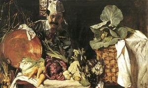Zelfportret van Max Liebermann met keukenstilleven