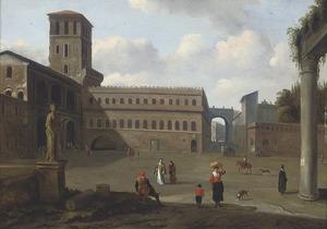 Gezicht op de binnenplaats van een Romeins paleis