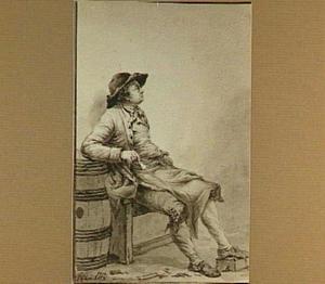 Zittende man met pijp, leunend op een ton