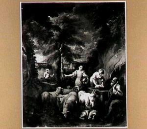 Landschap met herderinnen bij waterput; op de achtergrond de vlucht naar Egypte