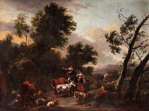 Italianiserend landschap met herders en vee