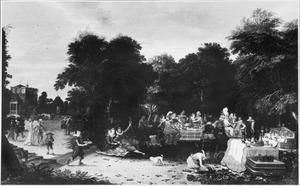 Elegant feestvierend gezelschap in een tuin