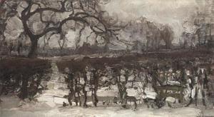 Landscape with apple tree at left: winter landscape