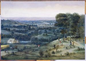 Panoramalandschap met jagers
