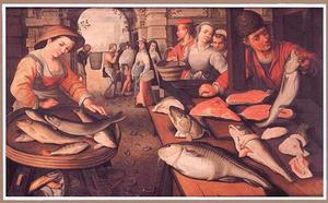 Vismarkt in een stad